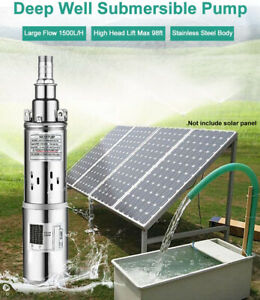 """Submersible Solar Bore Water Pump 3"""" Deep Well Irrigation Stainless Steel"""