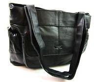 Mujer PREMIUM Súper Suave Cuero Negro Auténtica Bolso de hombro doble bolsillo