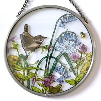 Decorative Winged Heart Hand Painted Stained Glass Roundel - Wren in Bluebells
