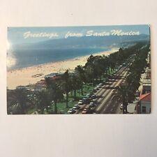 Santa Monica California Old Car Beach Scene Unposted Postcard