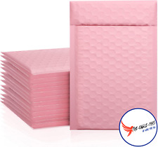50pcs Poly Bubble Mailers Self Seal Shipping Bags 4x8 Inch Padded Sakura Pink