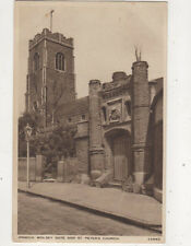 Ipswich Wolsey Gate & St Peters Church Suffolk England Vintage Postcard Us051