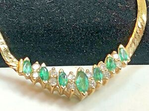 VINTAGE  14K GOLD NATURAL EMERALD DIAMOND PENDANT NECKLACE SIGNED BH EFFY ITALY