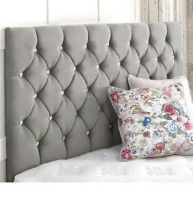 Plush Velvet Padded Headboard Bed Divan Upholstered - Free Delivery!