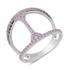 PINK POSH FANCY SIMULATED DIAMOND OPEN WORK DOUBLE BANDED STERLING PAVE RING 7