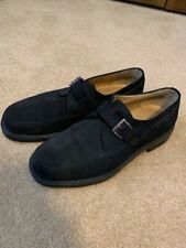 Men's Bruno Magli Single Monkstrap Black Suede Loafer Size 8.5 W