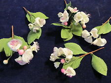 Millinery Flower White Apple Blossom Cluster 5pc Lot Trim for Hat or Hair Zj