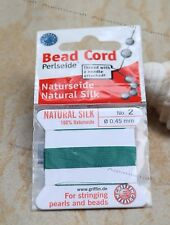 Sz 2 Green Bead Cord Beadalon Griffin Silk Beading Cord 2m with Attached Needle