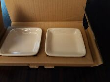 """2 Longaberger Woven Traditions Dipping Plates Nib. Plates are 3 1/2 """" sq. Ivory."""