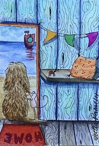 ACEO Contemporary Original Watercolour Painting Beach Hut~Dog~Boat~Ladybug~Mouse