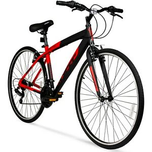 Hyper 700c Men's SpinFit Hybrid Bike, Black/Red Fast Free Shipping New Arrival