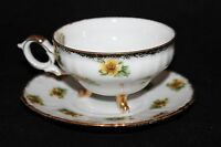 Cherry China Japan Yellow Flowers Footed Cup & Saucer  w/ Gold Trim