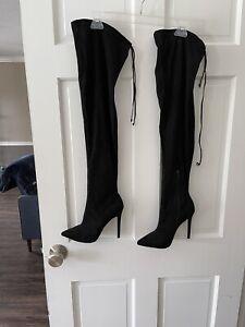 Ladies Black Tall Boots Size 8