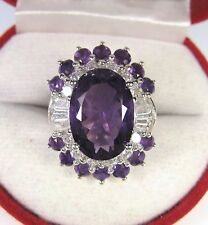 6.91 CTW AMETHYST & WHITE SAPPHIRE RING #7.25 - WHITE GOLD over 925 SILVER