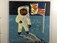 Andy Warhol Sbarco Sulla Luna  olio su tela cm 80x80  Falso d' autore