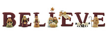 BELIEVE  Nativity Resin Christmas Set of 7 Letters Size 1.75 Blossom Bucket NIP