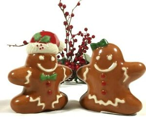 LENOX GINGERBREAD SHAKERS Couple Man & Woman Salt & Pepper Christmas Holiday $40