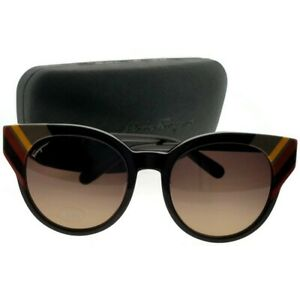 Salvatore Ferragamo SF883SA-208-53 Women's Black Frame Brown Lens Sunglasses NWT