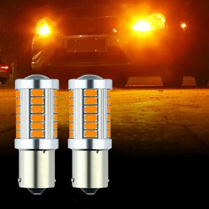 2pcs 1156 BAU15S PY21W 33 SMD 5730 Amber LED Bulbs Car Turn Signal Light Lamp