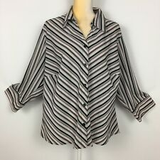 Notations Stretch Womens 2X Blouse Pink Black Green Striped 3/4 Sleeve Button Up