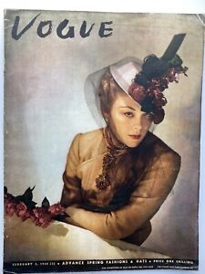 VOGUE Magazine 1938 February Millinery features COMPLIMENTARY GIFT WRAP