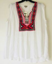 Lucky Brand Plus Size Embroidered Bib Tank Top. Size 3X.