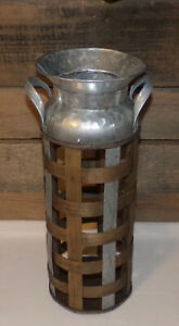 Galvanized Metal & Wood Milk Can FARMHOUSE RANCH COUNTRY Metal Wood Milk Can New