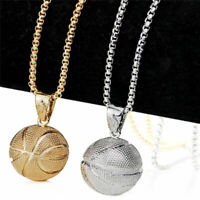3D Basketball Necklace Men Sports Pendant Hiphop Fan Fashion Chain Necklace