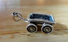 Sterling Silver 3D 22x13x8mm Movable Wheels on this Wagon Charm