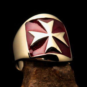 Nicely crafted Men's Templar Knight Ring Red Maltese Cross - Solid Brass