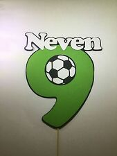 Soccer ⚽️ Ball themed Birthday personalised name&number layered cake topper