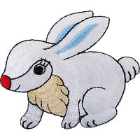 Rabbit Iron On Patch / Sew On Embroidered Bunny Badge Embroidery Animal Applique
