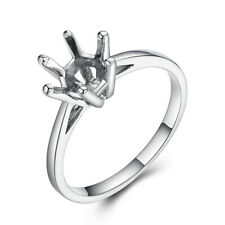 Wedding 14K White Gold Fine Jewelry Round Cut 7.5mm Semi Mounts Solitaire Ring