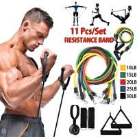 11PCS Resistance Band Tube Heavy Duty Power Gym Exercise Yoga Training Fitness