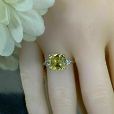 14K White Gold Over Asscher Cut Moissanite Yellow Color Three Stone Ring 2.00 Ct