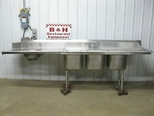 10 Stainless Steel Right Side Hobart Dirty Dish Washer Table With 3 Bowl Sink