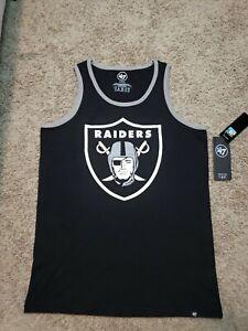 Las Vegas Raiders 47 Brand Mens Tank Top MEDIUM NFL Retro Black & Silver Shield