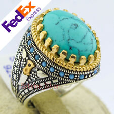 925 Sterling Silvr Turkish Handmade Turquoise Stone Men's Luxury Ring All Sizes