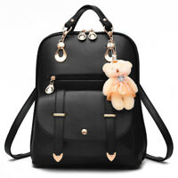 Fashion Women Girls PU Leather Shoulder School Travel Bag Backpack Rucksack