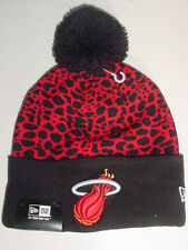 NEW! New Era MIAMI  HEAT Sport Knit Black Dot Beanie Stocking Cap / Hat NICE!