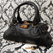 Rise-on Chloe Paddington Black Leather Handbag Shoulder Bag #19 t