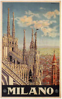 Milano Vintage Italian Travel Poster Rolled Canvas Giclee Print 24x36 Inches
