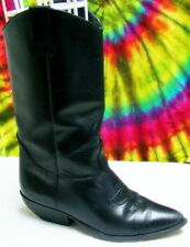 7 M vtg 80s black leather pointy dancing cowboy boots