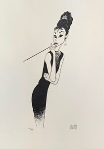 AL HIRSCHFELD AUDREY HEPBURN Facsimile Signed Limited Edition Lithograph Art