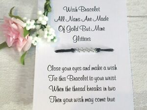 Nan Wish Bracelet Special Nanny Card Jewellery Quote Gift Family Glitter Sparkle