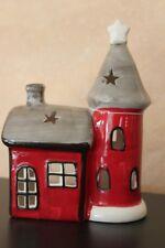 Räucherhäuschen mit Turm aus Keramik, Windlicht 19 x 14 cm, Weihnachtswindlicht