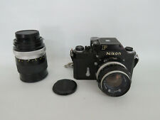 Nikon F Film Camera with Nikkor 50mm and 135mm Lenses Untested 622B