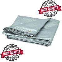 Heavy Duty Tarpaulin Builders Waterproof Ground Sheet Tarp Cover Silver