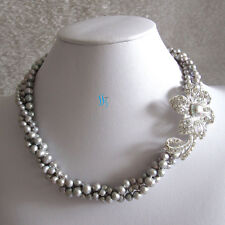 """Pearl Necklace Ly Pearl Jewelry 18"""" 3-7mm 3Row Gray Freshwater"""