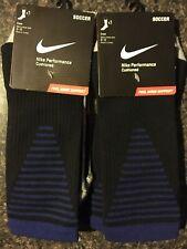 Lot Of 2- Nike Performance Crew Cushioned Soccer Socks Men's Size 8-12